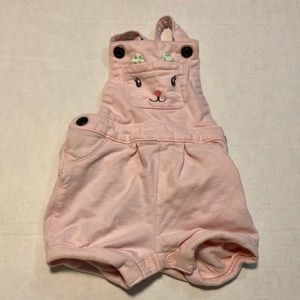 10/$10 overall shorts kitty cat face pink 9 mo